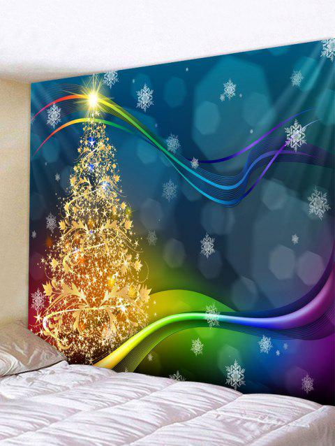 Christmas Tree Snowflake Wall Tapestry Decoration - multicolor W91 X L71 INCH