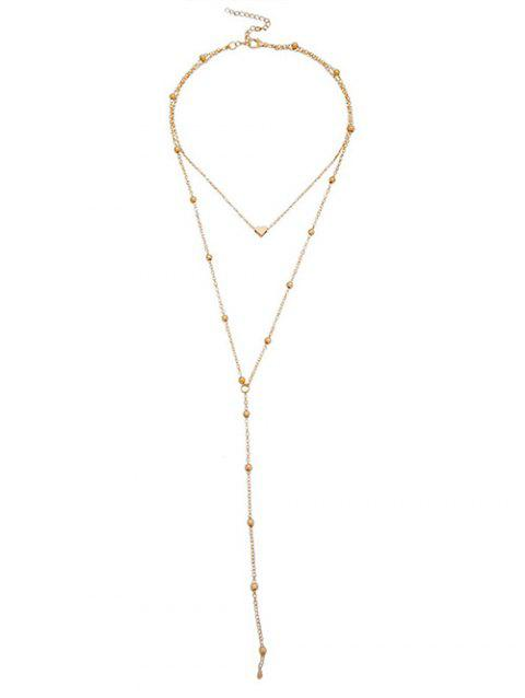 Heart Design Beads Layered Necklace - GOLD