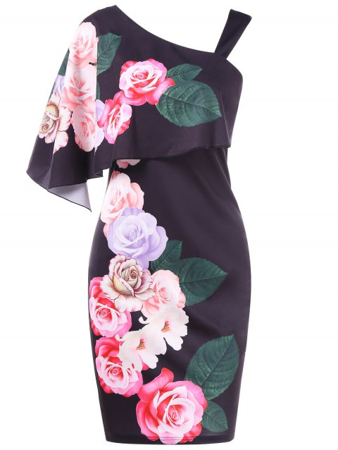 One Shoulder Floral Overlay Bodycon Dress - BLACK L