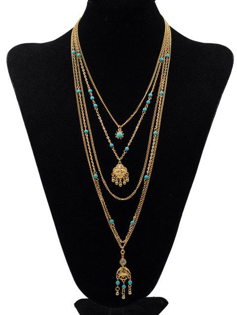 Bohemian Multilayers Faux Turquoise Pendant Necklace - GOLD