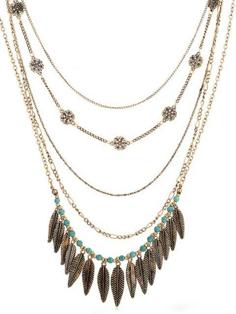 Alloy Leaves Faux Turquoise Bohemian Necklace - GOLD