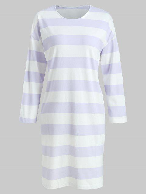 Striped Print Sleeping Dress - MAUVE ONE SIZE