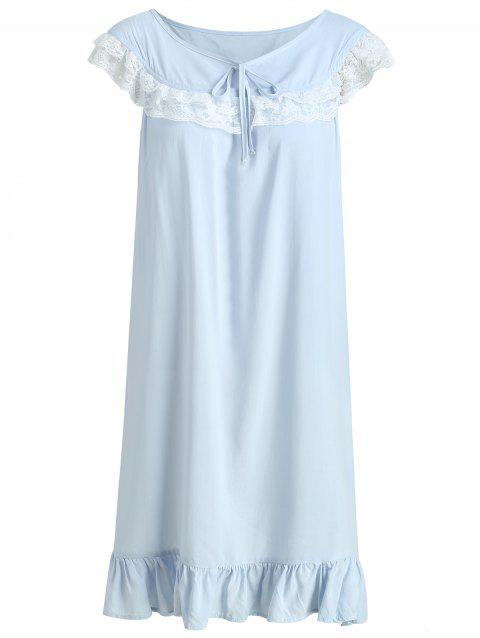 Lace Insert Flounce Sleeping Dress - LIGHT BLUE M