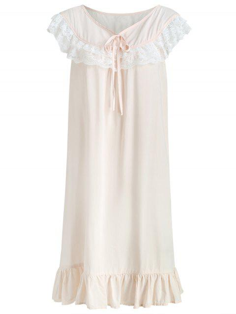 Flounce Lace Panel Sleeping Dress - LIGHT PINK M