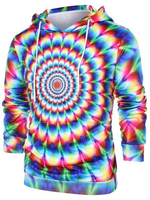 3D Colorful Vortex Print Hoodie - multicolor L