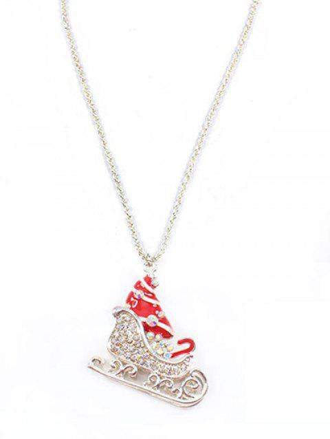 Christmas Boots Rhinestone Sweater Necklace - SILVER