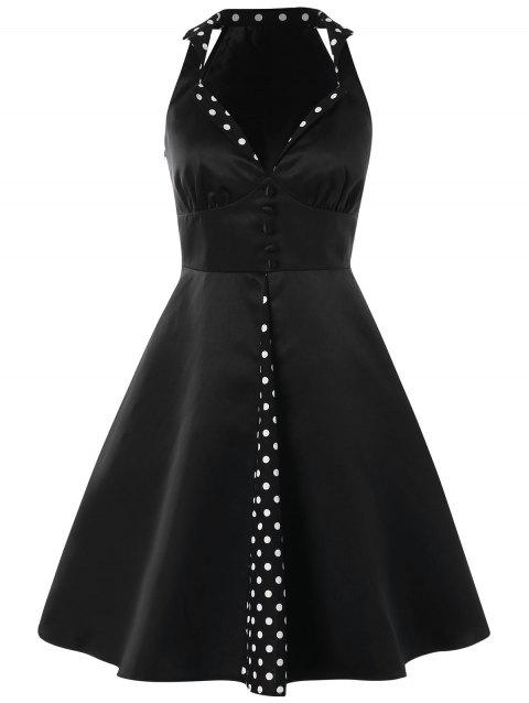 Polka Dot Panel High Waist Retro Dress - BLACK XL