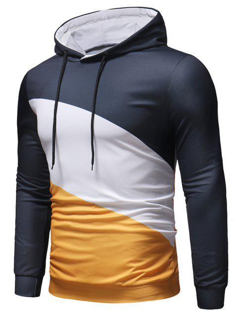 Color Block Long Sleeves Hoodie - GOLDEN BROWN XL