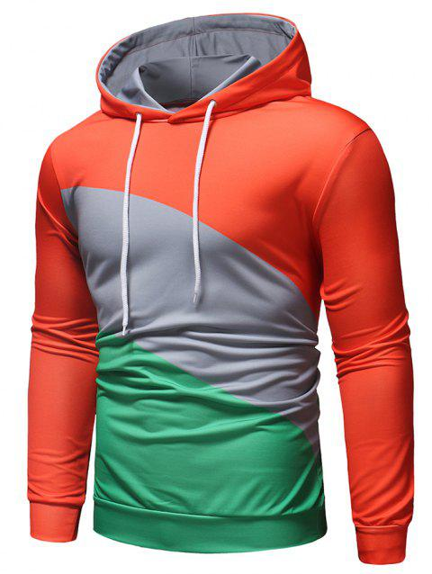 Color Block Long Sleeves Hoodie - GREEN L