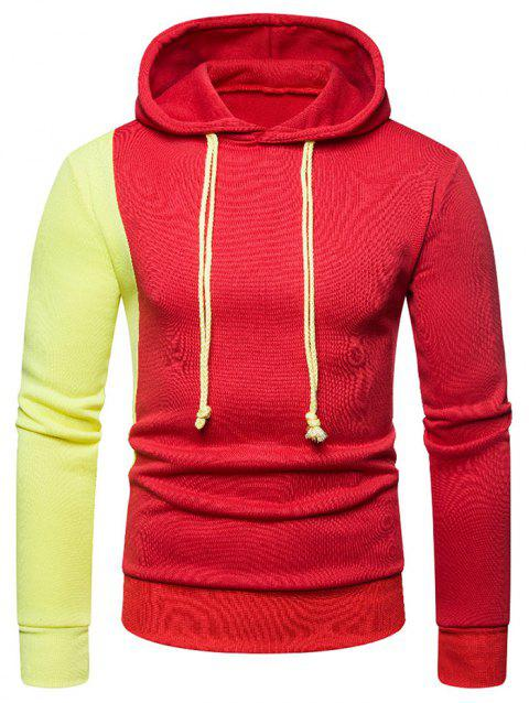 Contrast Color Long Sleeves Drawstring Hoodie - RED XL
