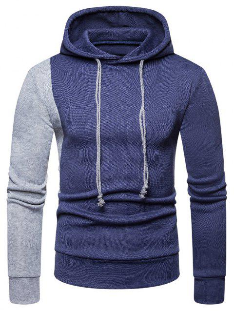 Contrast Color Long Sleeves Drawstring Hoodie - BLUE 2XL