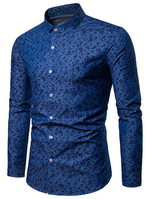 Allover Cashew Nut Printed Button Up Shirt - DEEP BLUE L