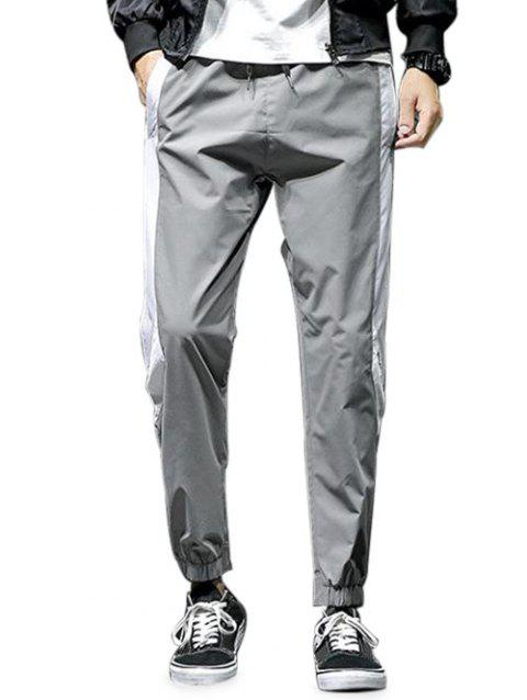 Drawstring Color Block Casual Pants - LIGHT GRAY S
