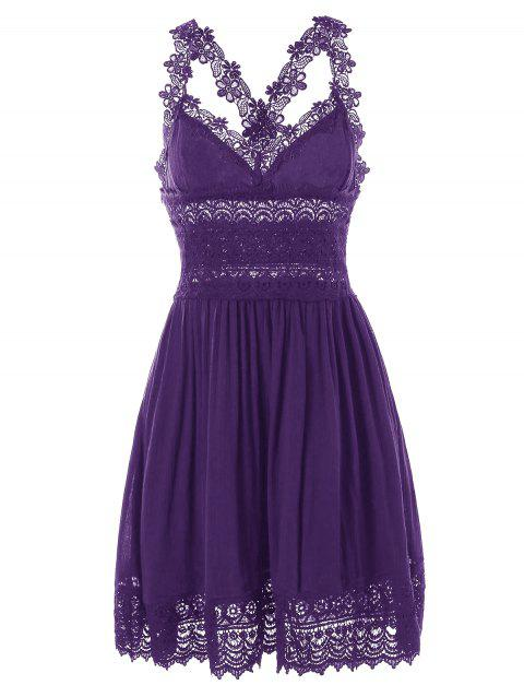 Lace Trim Backless Summer Dress - PURPLE IRIS L