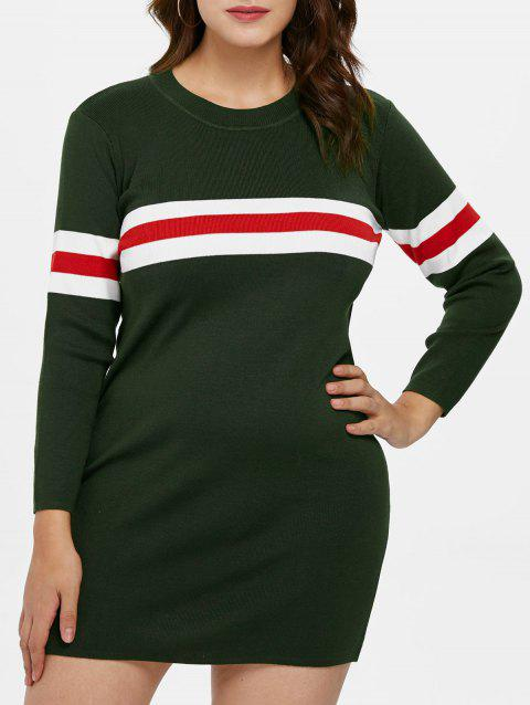 Plus Size Sweater Tunic Dress - ARMY GREEN L