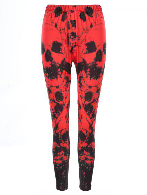High Waisted Print Leggings - RED 2XL