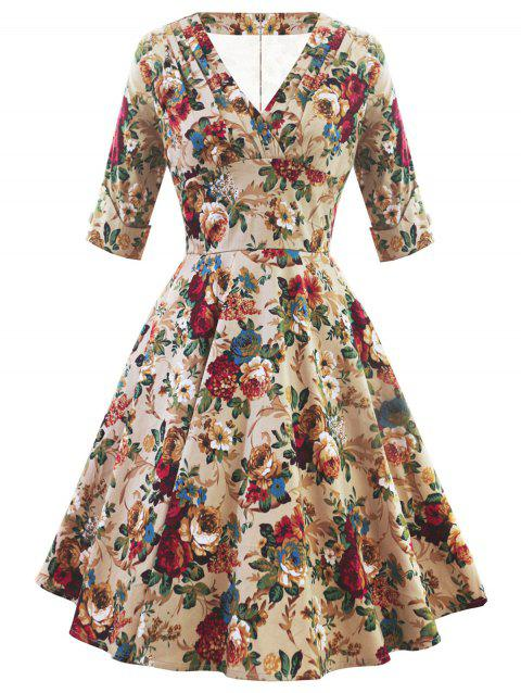 Retro V Neck Floral Pin Up Dress - multicolor M