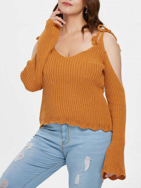 Plus Size Ribbed Cold Shoulder Sweater - ORANGE GOLD 2X
