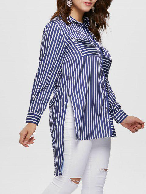 Plus Size Striped High Low Blouse - multicolor 2X