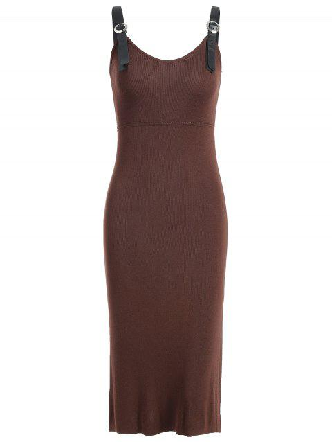 Knit Bodycon Knee Length Dress - COFFEE XL