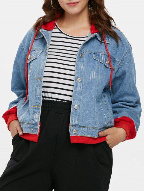 Plus Size Patchwork Hooded Denim Jacket - DENIM BLUE 2X