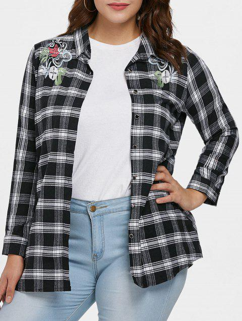 Plus Size Plaid Embroidery Shirt - BLACK L