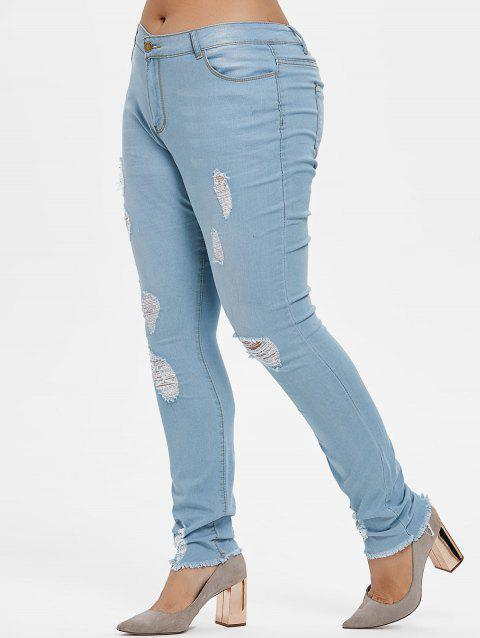 Plus Size Torn Frayed Hem Jeans - JEANS BLUE 2X