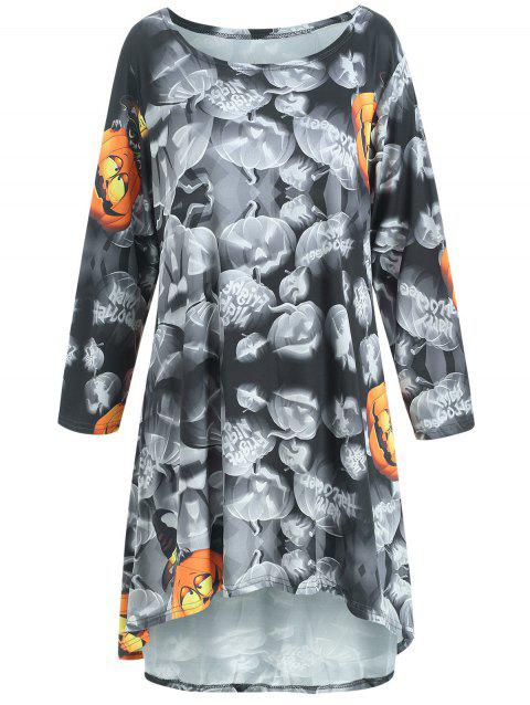 Halloween Pumpkin Print High Low Swing Dress - BLACK 2XL