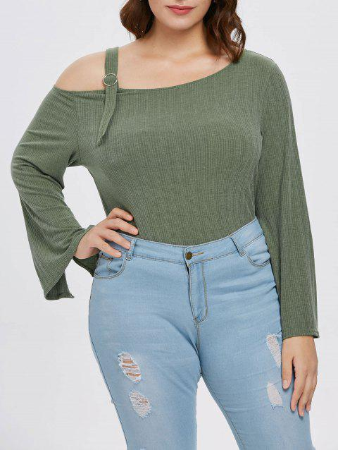 Plus Size Ribbed Flared Sleeve T-shirt - CAMOUFLAGE GREEN L