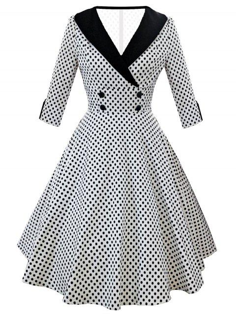 Vintage Shawl Collar Dotted Pin Up Dress - WHITE XL