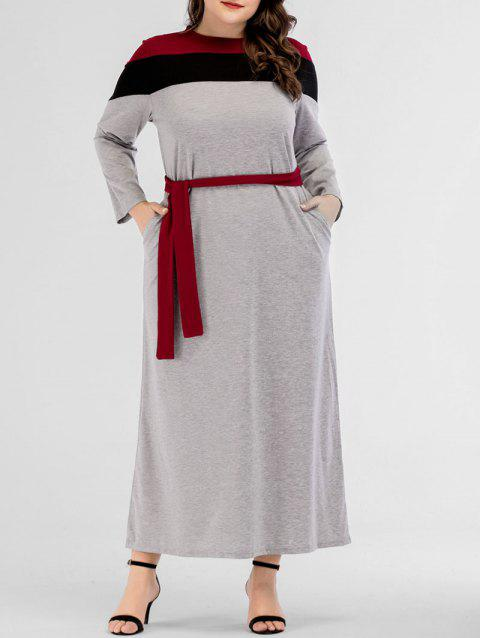 Color Block Plus Size Long Belted Dress - LIGHT GRAY 1X