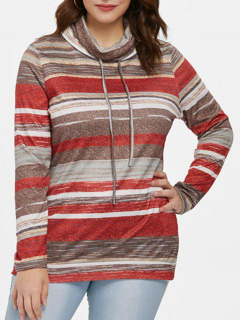 Color Block Striped Plus Size Sweatshirt - RED 1X