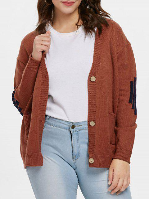 Plus Size Buttoned Sweater Cardigan - BROWN L