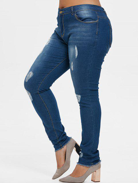Plus Size Torn Frayed Hem Jeans - DENIM DARK BLUE 3X