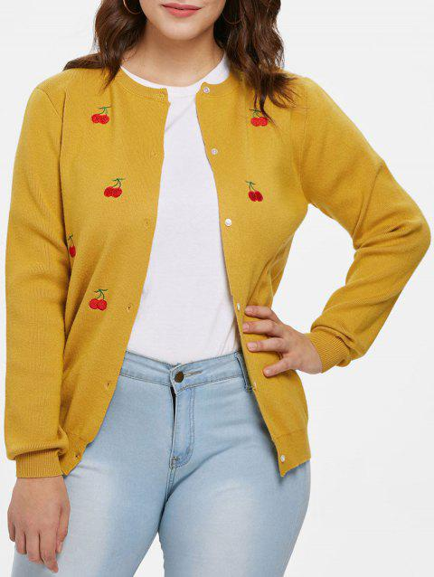 Plus Size Cherry Embroidered Cardigan - GOLDEN BROWN 1X
