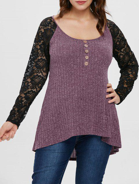 Plus Size Lace Panel High Low Hem T-shirt - PALE VIOLET RED 3X
