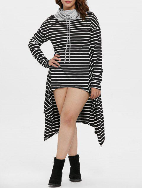 Cowl Neck Plus Size Striped High Low Dress - BLACK 4X