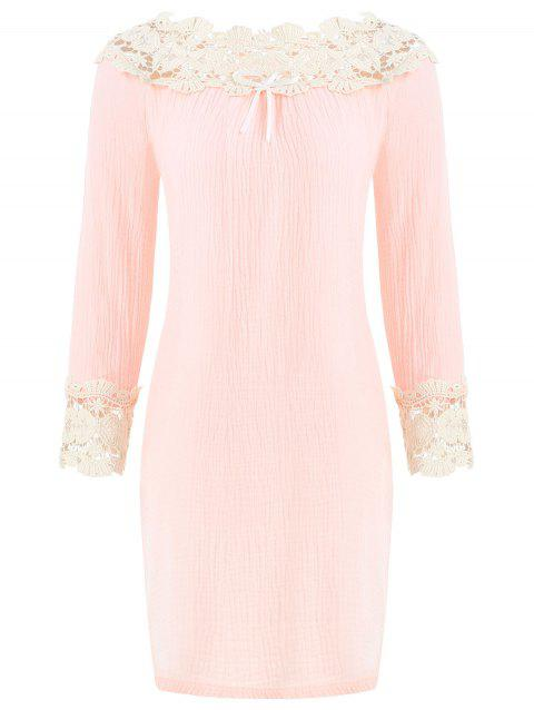 Lace Panel Nightgown Sleeping Dress - PINK M