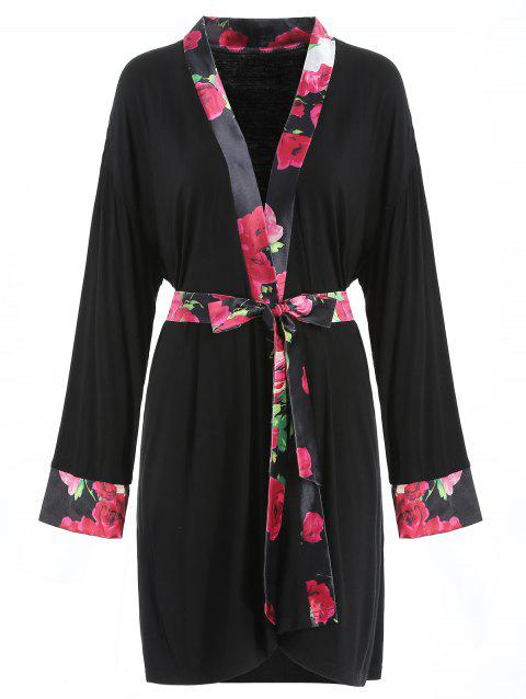 Floral Print Sleeping Robe - BLACK XL