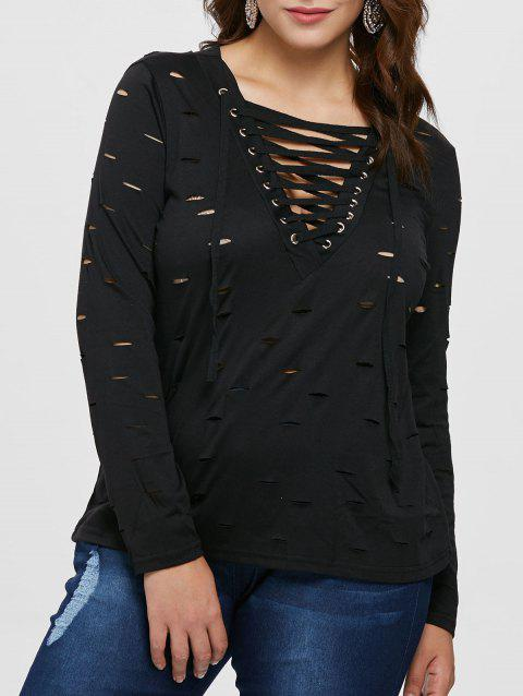 Plunge Plus Size Lace Up T-shirt - BLACK 3X