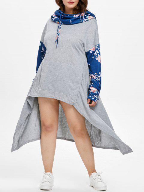 Cowl Neck Plus Size Drawstring High Low Dress - BLUE 3X