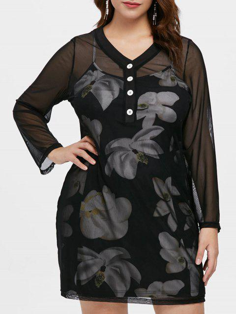 Plus Size Long Sleeve Dress with Floral Cami Dress - BLACK 4X