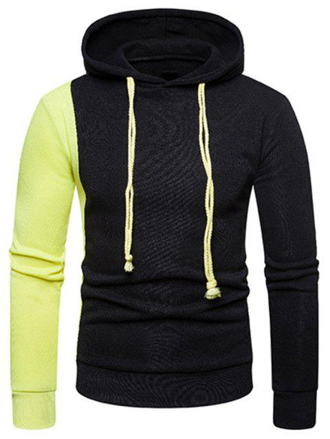 Contrast Color Long Sleeves Drawstring Hoodie - BLACK L