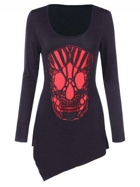 Crochet Skull Long Sleeve T-shirt - BLACK M