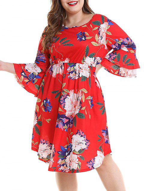 Plus Size Print Bell Sleeve Casual Dress - RED L