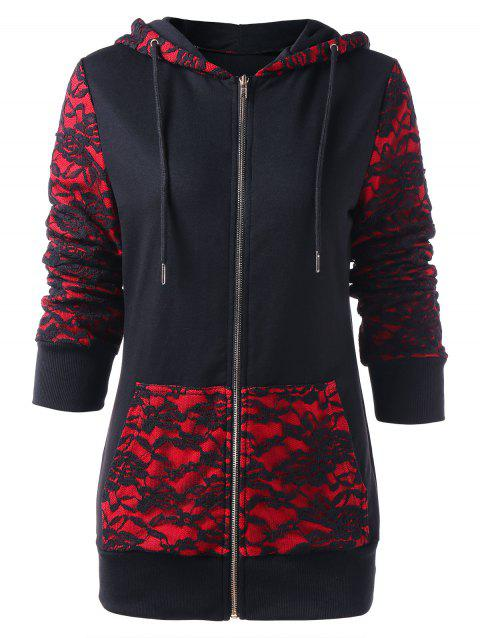 Gothic Roses Lace Panel Zipper Hoodie - BLACK XL