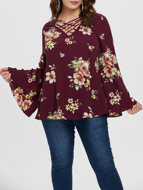 Plus Size Floral Pattern Lattice Blouse - RED WINE L
