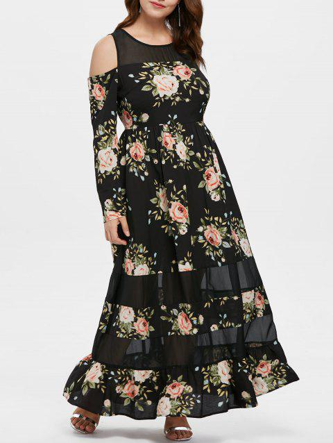 Plus Size Cold Shoulder Floral Ruffle Dress - BLACK 2X
