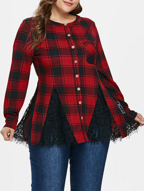 Plus Size Lace Insert Patch Pocket Plaid Shirt - RED WINE 5X