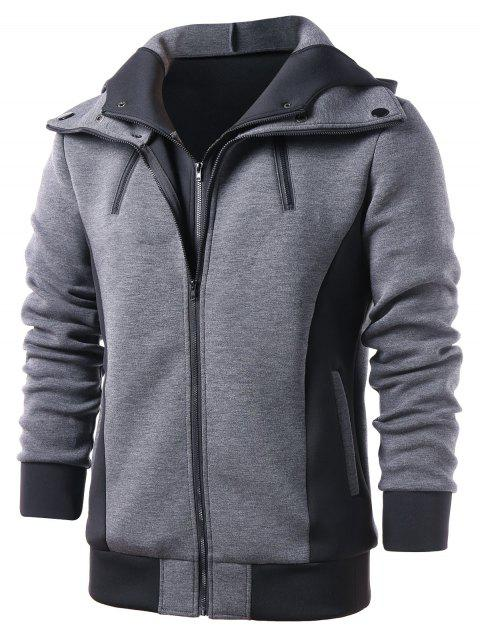 Zip Up Faux Twinset Hoodie - GRAY L